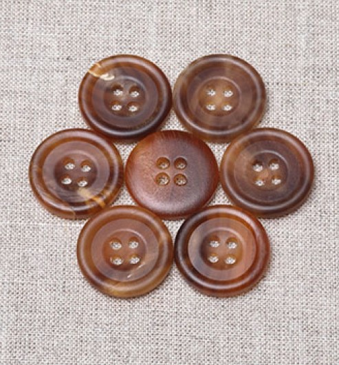 Unpolished 4 hole Horn Buttons