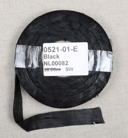 "3/4"" Cut Linen Holland 50m Reel - Black"