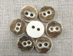 22 ligne/14mm Natural Stag Horn Button - Natural