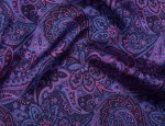 100% Viscose Twill Firm Finish - Special Blue/Mauve Paisley