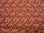 100% Viscose Twill - Paisley Elephants Gold/Red